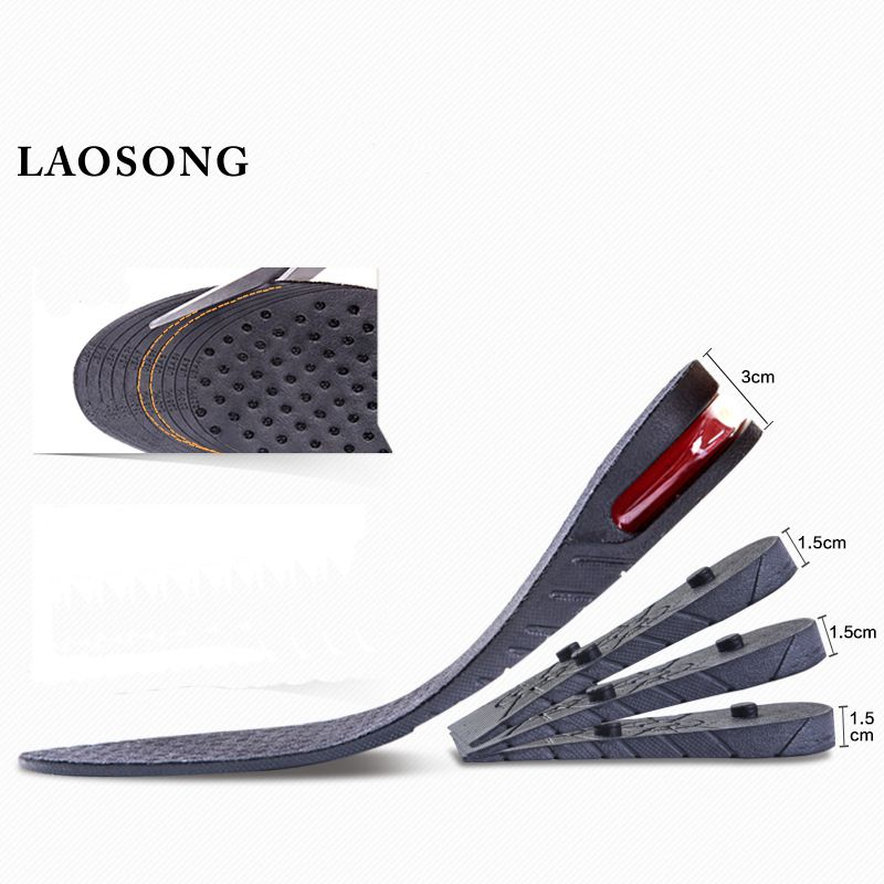 LAOSONG Air Cushion Height Increased Insoles For Men Women 1-4 Layers Stealth Adjustable Shoes Insoles Black Lift Pads Heel