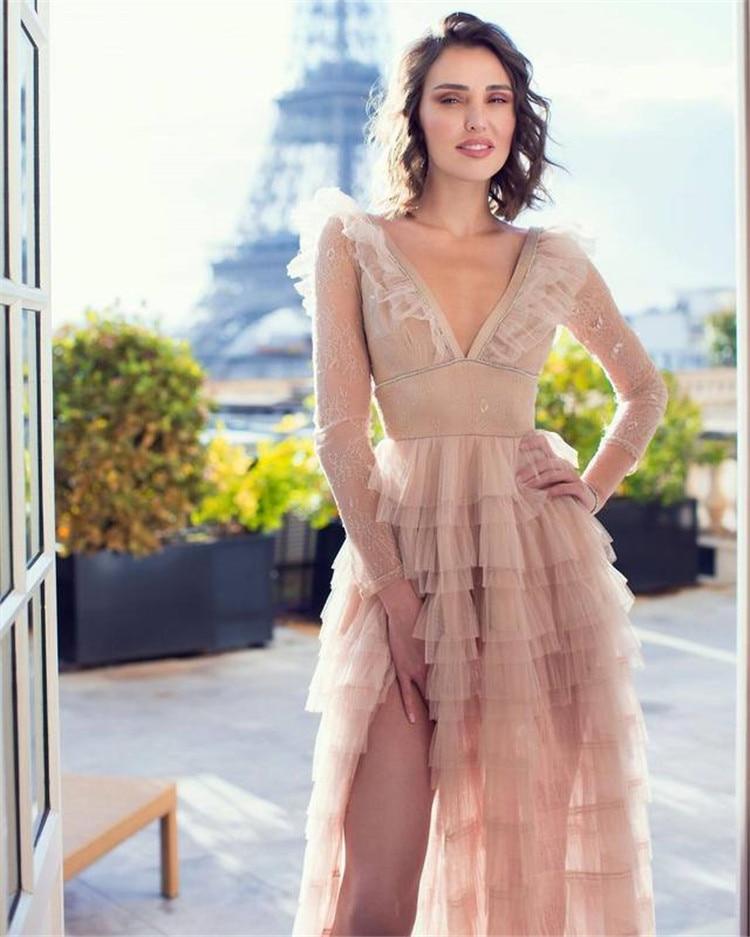 Venta caliente 2019 ahuecado de encaje vestido completo Sexy mujeres vendaje Celebrity Night Club Deep v cuello vestidos de fiesta al por mayor