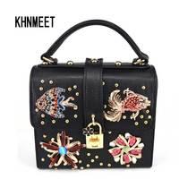 Fashion Black Crystal Flower Animal Strap Handbags Women Lock Box Mini Tote Bag Ladies Flap Pu
