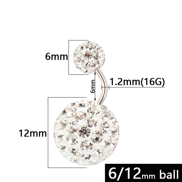 Belly Button Ring 6/12 Mm...