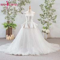 Beauty Emily Vestido De Novia White Luxury Beads Appliques Lace Up Grey Wedding Dresses 2017 Formal
