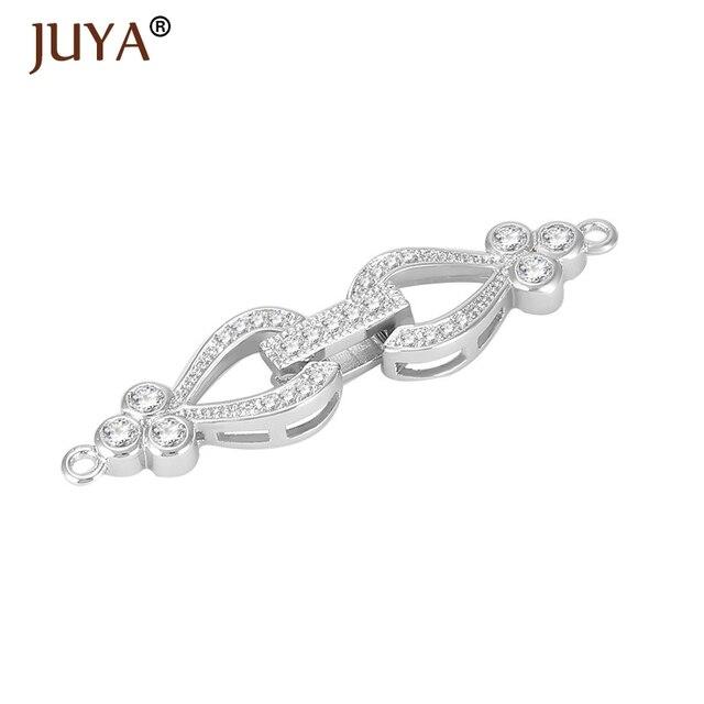 Chaude mode bricolage bijoux résultats accessoires cuivre strass pli sur fermoirs pour faire un bracelet collier composants