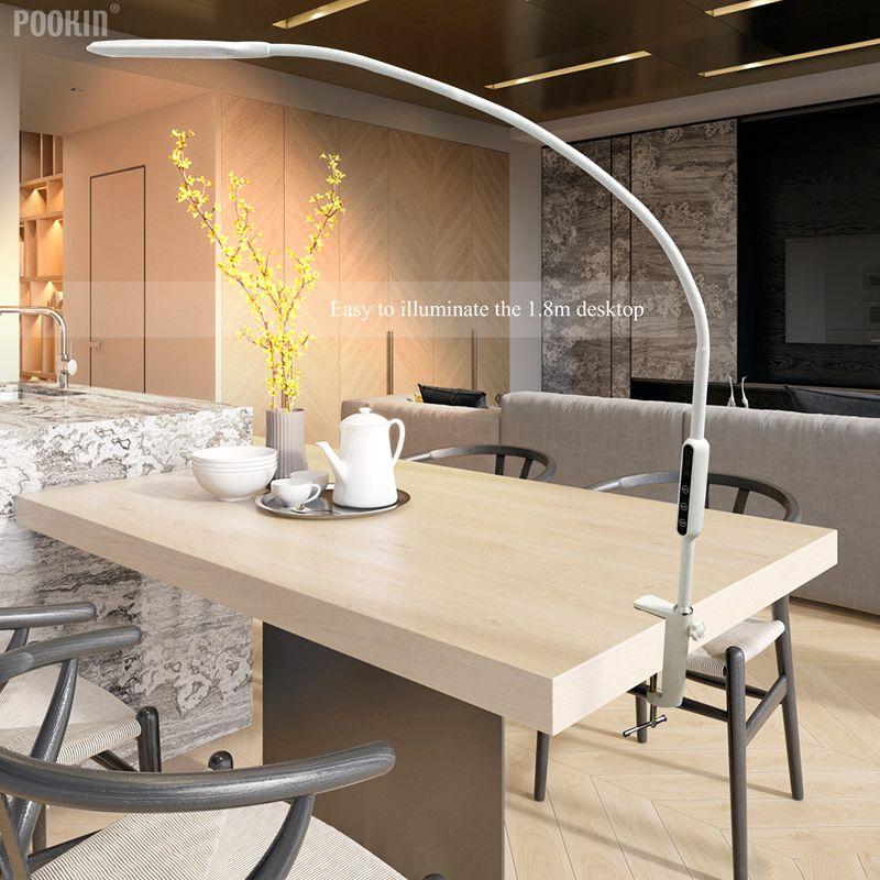 Brazo Largo Clip de lámpara de mesa Led lámpara de escritorio Control remoto ojo-protegida lámpara para dormitorio luz Led 5 nivel de brillo y Color