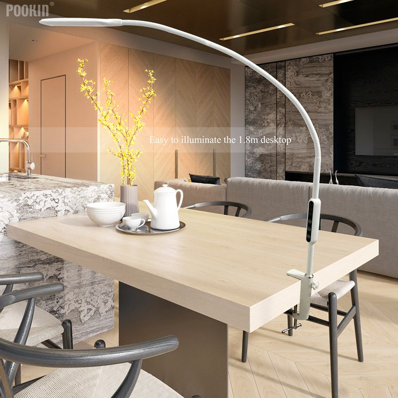 Long Arm Table Lamp Clip Office Led Desk Lamp Remote Control Eye-protected Lamp For Bedroom Led Light 5-Level Brightness&Color