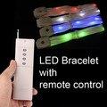 Flashing Led Bracelet Remote Control illuminated Nylon Bangles Bracelets for Party Event Wedding Xmax Sample order 5pcs/Lot