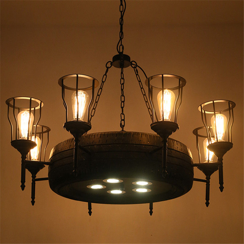 LOFT Nordic Industrial Tire chandeliers American Creative Bar Cafe Chandelier Iron Cage Chandelier the cafe shop vintage clothing store small chandelier bar loft iron chandelier geometry character