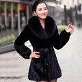 Горячая распродажа новый зимний женщины лисий мех воротник из искусственного меха кролика пальто черный тонкий куртка роскошные элегантные дамы норки сращены шинель