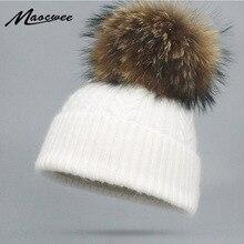 Женская зимняя шапка из кроличьего меха, натуральный мех, помпон, вязаная шапочка с помпоном, настоящий помпон Лисий мех, вязаная, теплая, мягкая, пушистая, скрученная, с узором