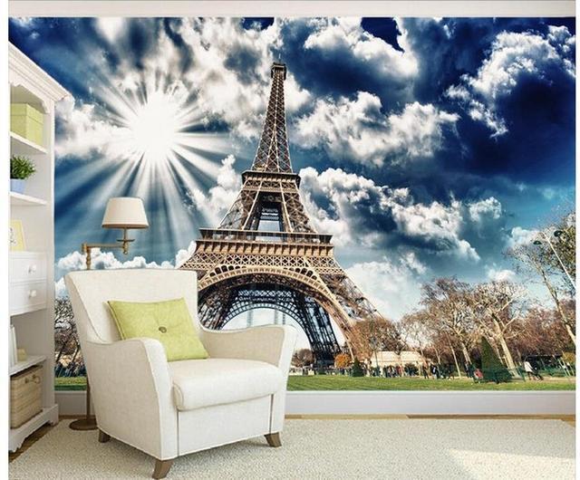 3d Papier Peint Pour Chambre Ensoleillé Tour Eiffel Décoration Peinture  Murale 3d Papier Peint 3d Plafond