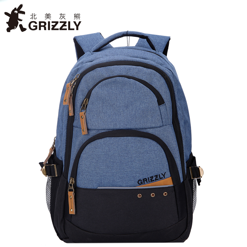 GRIZZLY Men Canvas Laptop Backpack Casual Mochila for Teenager Boys Multifunction Schoolbags Large Capacity Travel Bag