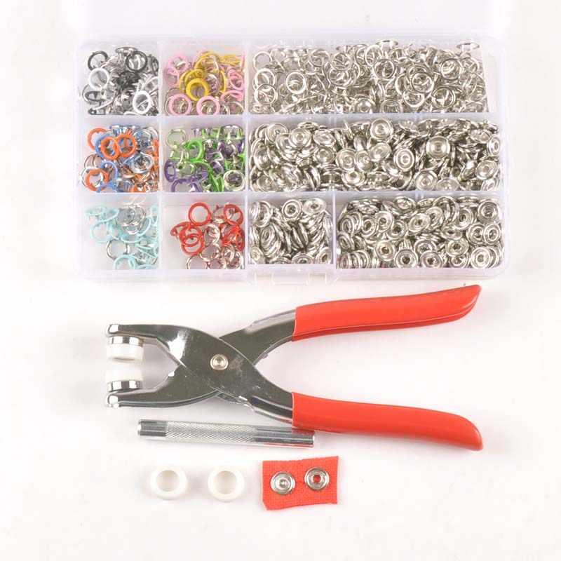Herramienta de alicates + clavija de metal plateado botones de presión pernos sujetadores bebé Romper hebilla botón para coser ropa 9,5mm cp2318