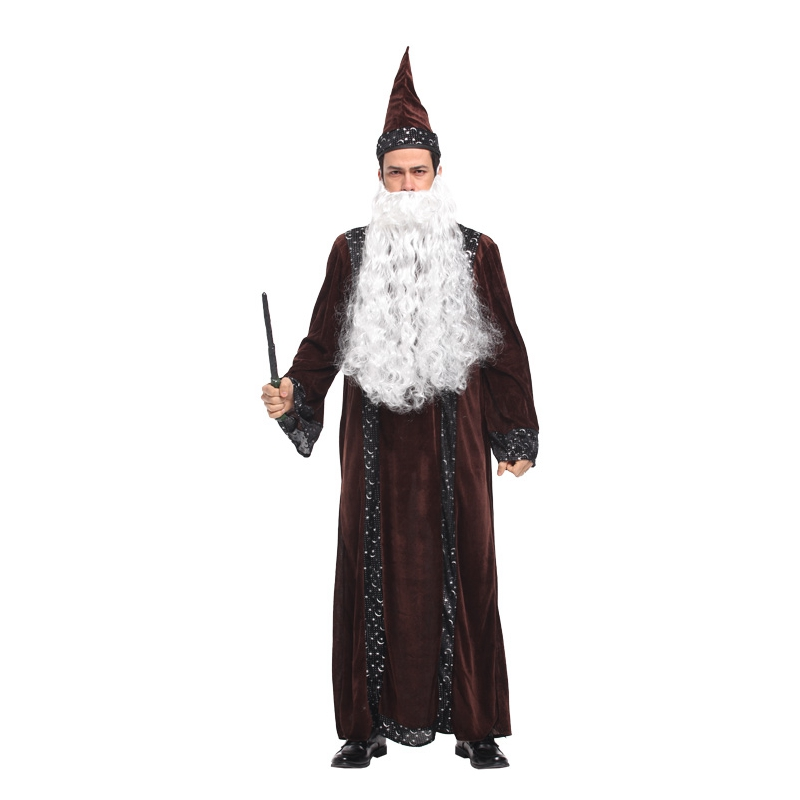 Umorden Purim Carnival Party Halloween Costumes for Adult Men Wizard Robe Gown Wizard Magician Costumes Cosplay Outfit