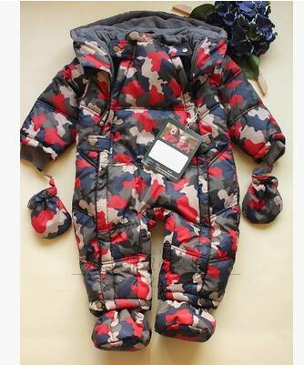 Winter baby rompers outdoor camouflage coveralls lining fleece thick warm down cotton clothing warm thicken baby rompers long sleeve organic cotton autumn