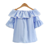 BOBOKATEER Off Shoulder Summer Top Women Blouse Sexy Plus Size Womens Tops And Blouses Camisa Feminina