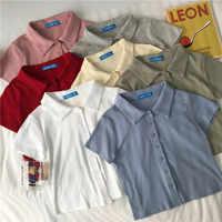 8 cores 2019 verão estilo preppy cor sólida manga curta design camisetas das mulheres camiseta femme feminino topos (c6369)