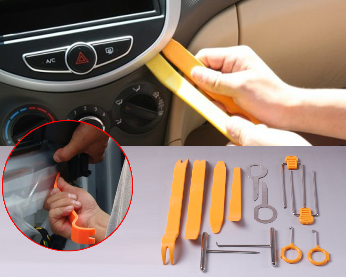 beler 12pcs Plastic Car Door / Radio Trim Panel Molding Removal Double Ended Installer Pry Tool
