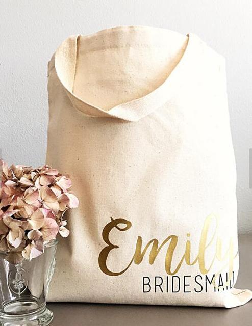 Set Of 4pcs Custom Tote Bags Personalized Bridesmaid Names Champagne Party Wedding Gift Bachelorette Bridal