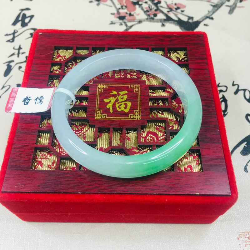 Zheru เครื่องประดับธรรมชาติ Jadeite สร้อยข้อมือ noble น้ำแข็งสีเขียวด้านล่างสี 2 สี 54-62 มม. ของขวัญของขวัญ certificat