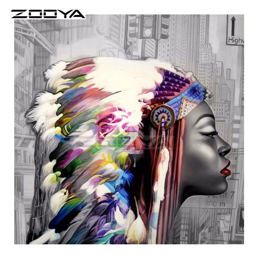 ZOOYA DIY Diamond Embroidery Indian Woman Character &Feather Diamond Painting Cross Stitch Round Drill Mosaic Decoration CJ1158