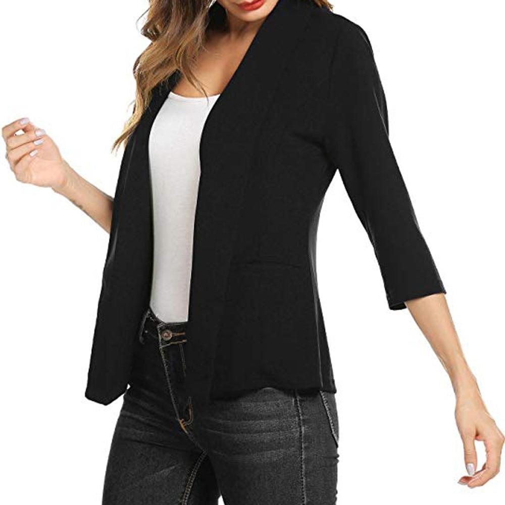 Women Mini Suit Casual 3/4 Sleeve Open Front Work Office Blazer Jacket Cardigan Collar Regular Solid Loose Jacket Coat 7.19