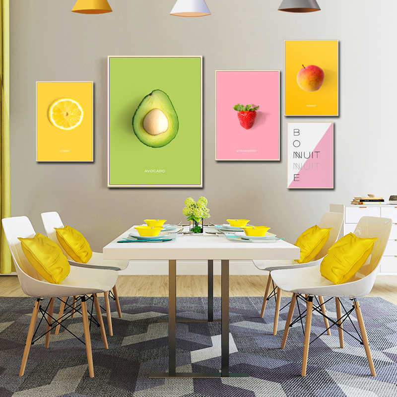 Watercolor Food Green Fruits Lemon Strawberry Mango Wall Modular Pictures Canvas Painting Poster and Paint For Home Living Room