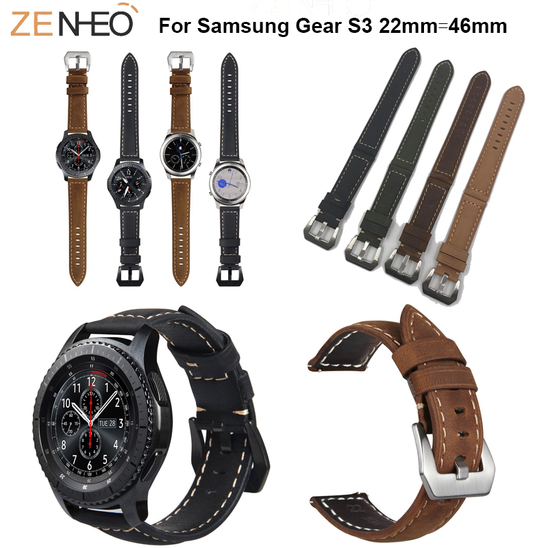 22mm For Samsung Gear S3 Frontier Leather Watch Strap For Samsung Galaxy Watch 46mm Band Watchbands Replace Bracelet Wristband