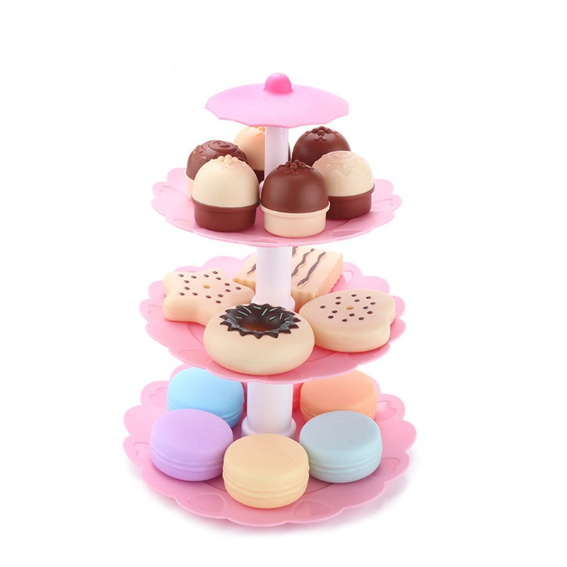 17Pcs DIY Pretend Play Miniature Cookies Food Dessert Tower Simulation Food Cake Biscuits Donut Educational Gifts For Children