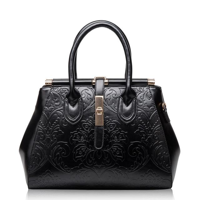 Elegance Women Vintage Frame Handbags Embossed Real Leather Designer Shoulder Bags Top Grade Genuine Tote