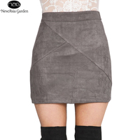 High Elasticity Women S Suede Skirts High Waist Pencil Skirts Winter Autumn Spring Casual Pocket Mini