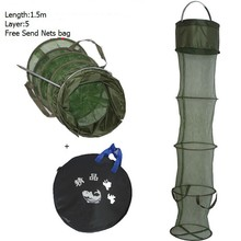 Fishing tackle shrimp net cage fish cage 1.5 m 5 layer circle diameter 30cm glue shrimp cage cheap fishing net + net bag