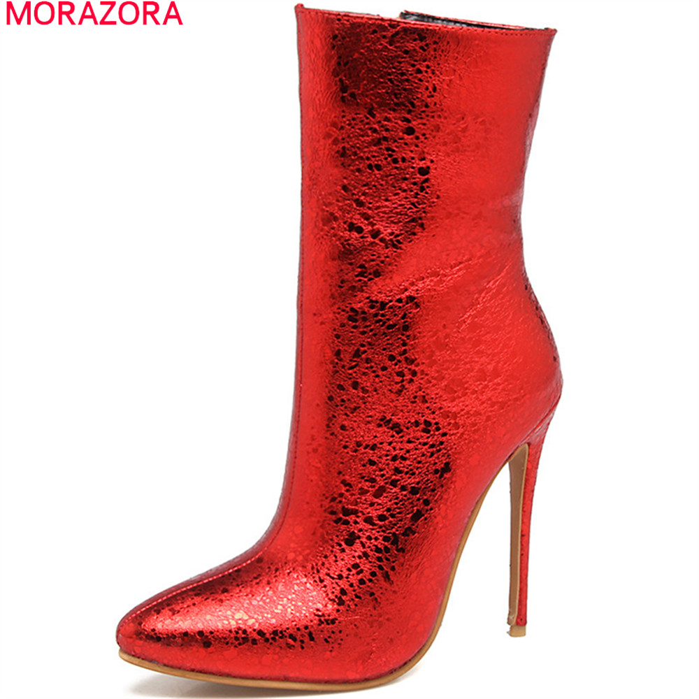 MORAZORA Black red blue silvery new arrive women boots pointed toe zipper ladies boots super high thin heel ankle boots big size цены онлайн