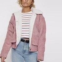 2018 women's clothing fashion pink jackets Corduroy velour winter Jackets single button cotton casual coats Fleece thick coats