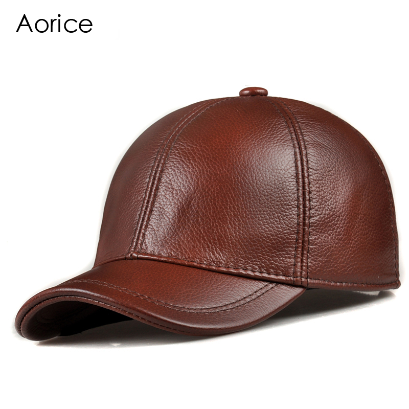 Aorice Fashion Simple Genuine Leather Baseball Cap Hat Men Winter Warm Brand New Cow Skin Women Newsboy Caps Sport Hats HL171-F hl083 new new fashion men s scrub genuine leather baseball winter warm baseball hat cap 2colors