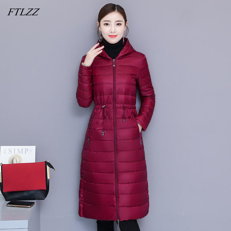 FTLZZ Winter   Coat   Women White 90% Duck   Down   Jacket Medium Long Slim Hooded Parkas Ultra Light   Down     Coat   Casual Outwear