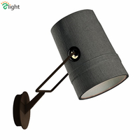 Modern Fork R7S Rotatable Wall Lamp American Retro Linen Fabric Lampshade Led Wall Lamp Lustre Bedside Luminaire Lamparas