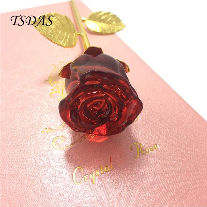레드 크리스탈 로즈 꽃 인공 로즈 골드 도금 상자 크리스탈 꽃 크리스탈 발렌타인 완벽한