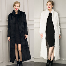 Lanshifei ebay top sale breathable winter cotton italian faux fox long overcoats russian faux fur coat Autumn long down Coat