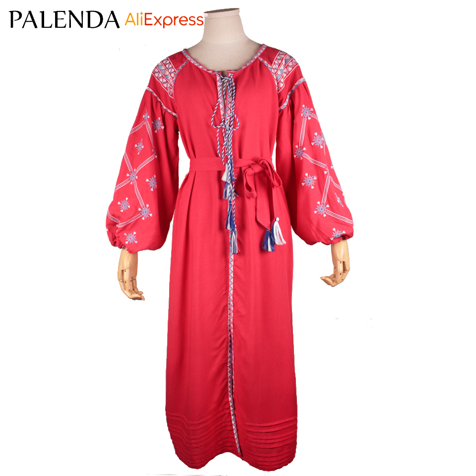 Bohème boho robe femmes longue broderie lanterne manches tassle avec ceinture taille serrée large fit 4 taille rouge coton tissu