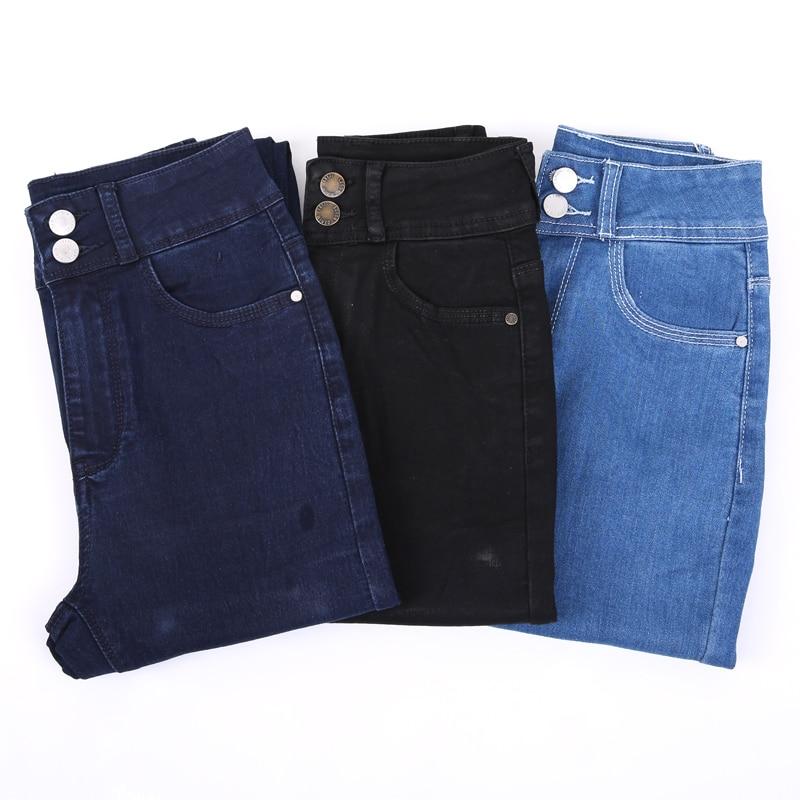 LEIJIJEANS 2020 Plus Size button fly women jeans High Waist black pants women high elastic Skinny pants Stretchy Women trousers 13
