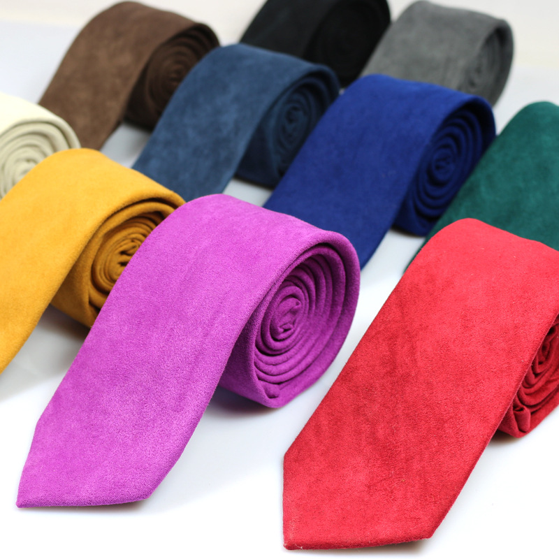 New Men's Ties Solid Color Skin Velvet Soft British Leisure 6cm Super Skinny Tie Factory Direct From Stock