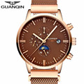 New Fashion GUANQIN Luxury Multifunctional Watch Men Automatic Clock Hour Male Mesh Band Gold Full Steel Mechanical Wristwatch