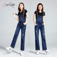 Brief Relate Blue Denim Jumpsuit Overall Woman Chic Wide Leg Pant Full Length Casual Loose Straight Style Jeans Durable