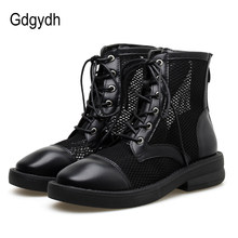Gdgydh Womens Shoes Lace Up 2019 Summer New Mesh Ankle Boots For Women Fashion Leather Block Mid-heeled Shoes With Zipper(China)