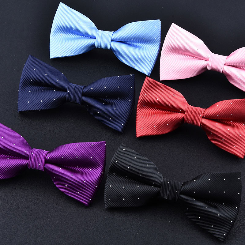 High Grade Double Layer Bow Tie Twill Fabrics Dot Wine Red Purple Pink Marry Wedding Photo Business Formal Suit Bowties