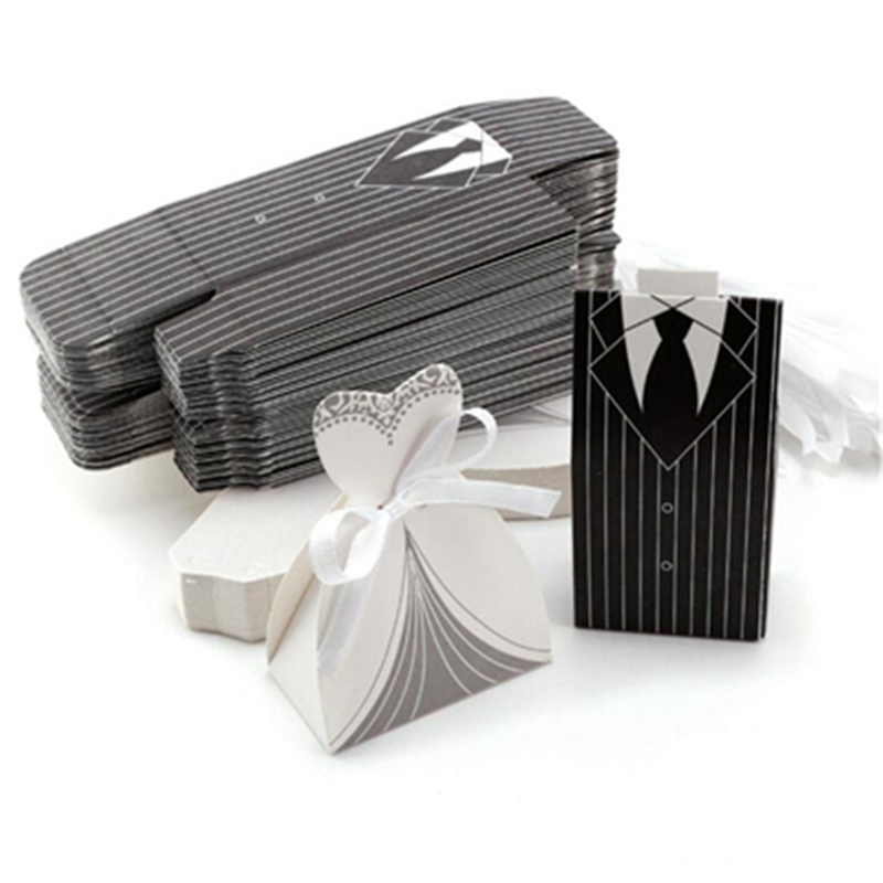 10Pcs/Lot Creative Stripe Tuxedo Dress Groom Bridal Candy Gift Box With Ribbon For Wedding Party Decoration Candy Box