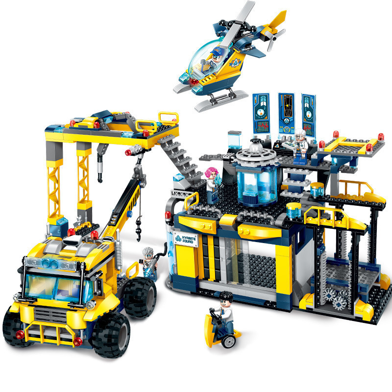 753pcs 2019 New Educational Building Block Toys Initiation 2412 Engineering Series Car Spar Team Alpha Exploration Base Brick in Blocks from Toys Hobbies