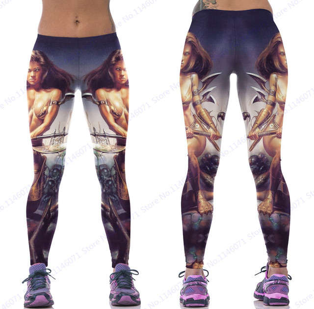 0085ba33e4ac59 Female Warrior Take Axe Pattern Sports Jogging Leggings Sexy High Waisted Yoga  Pants Seamless Women Compression Skinny Tights