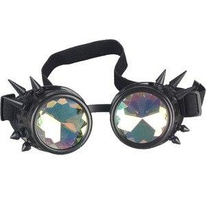 Image 4 - Kaleydoskop renkli gözlük Rave festivali parti EDM güneş gözlüğü Diffracted Lens Steampunk gözlük erkek kaynak gotik Cosplay