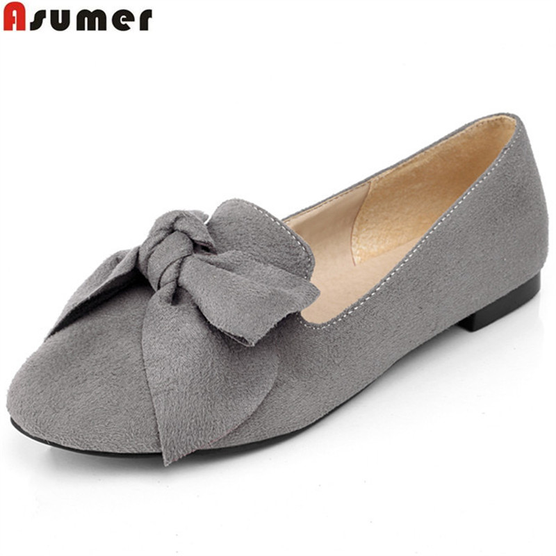 Asumer Plus size 34-43 spring autumn single shoes PU nubuck leather party shoes woman ballet flats shoes solid women shoes plusbig size 34 43 women s fashion shoes woman flats spring shoes female ballet shoes metal round toe solid casual shoes 237