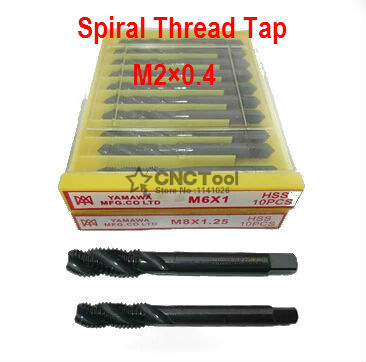 M2x0.4 High Speed Steel HSS Screw Thread Metric Spiral Hand Plug Tap Kit for CNC